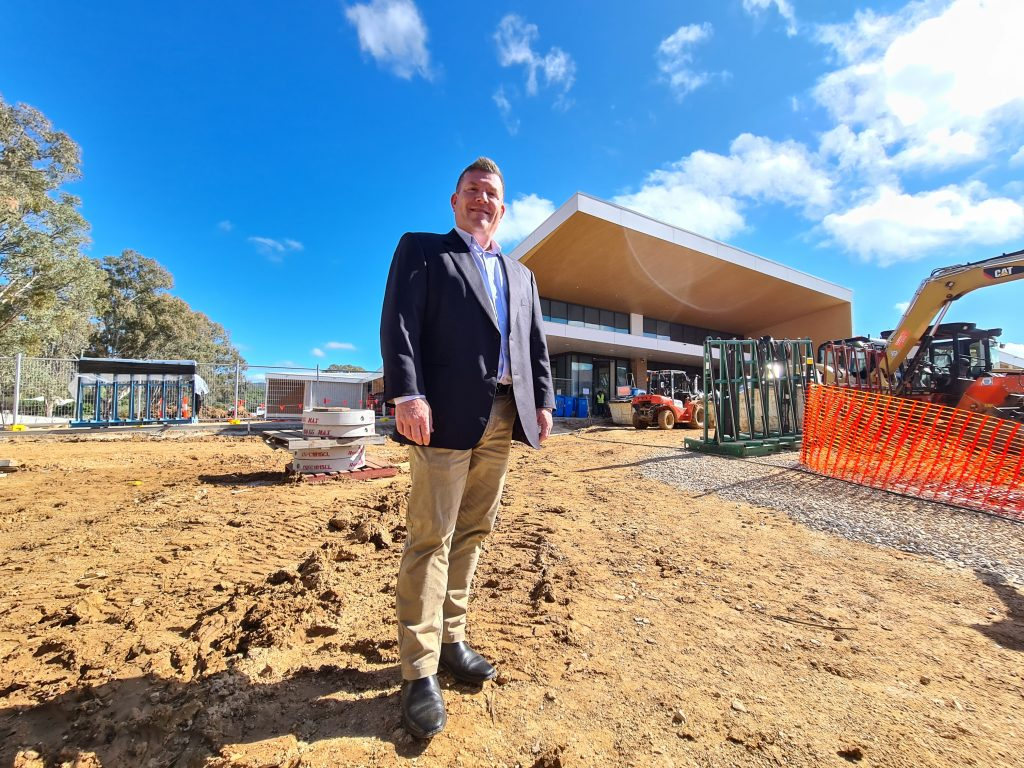 Dugald at the Mudgee Hospital as it was nearing completion