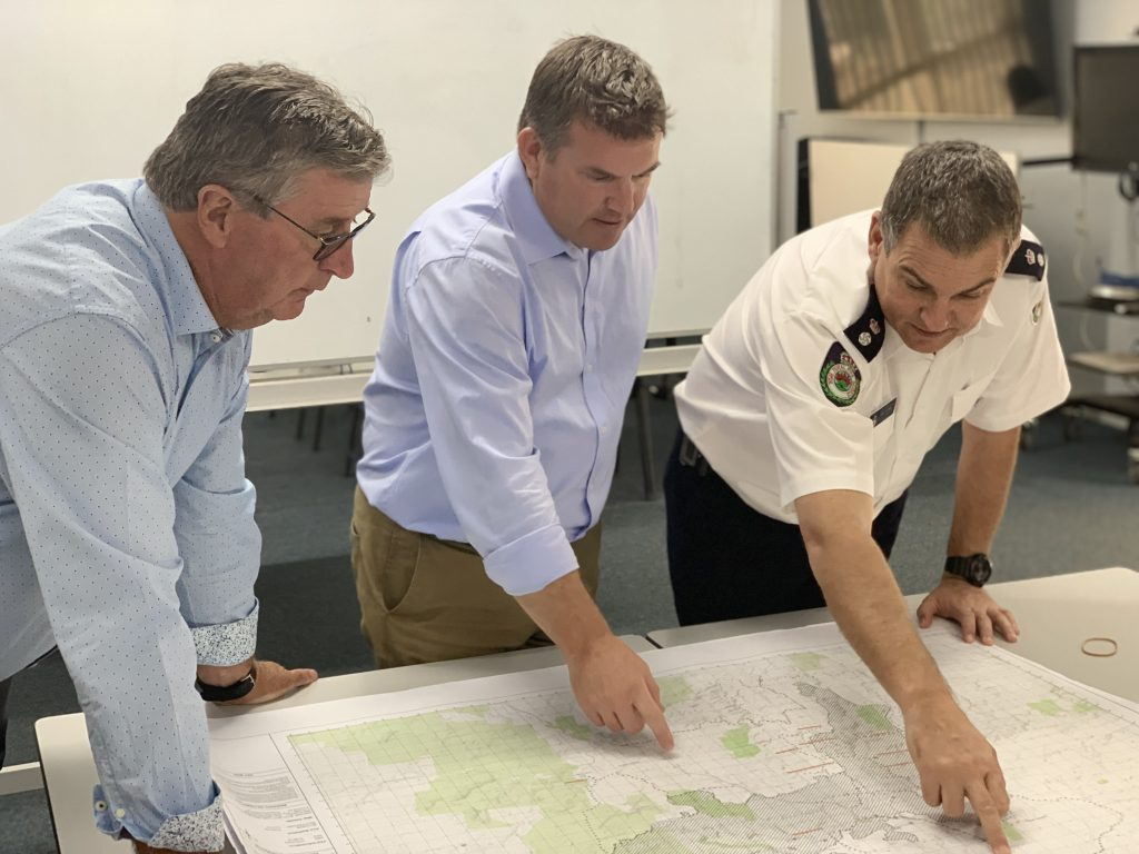 Photo: Member for the Dubbo electorate Dugald Saunders with Mid-Western Regional Council mayor Des Kennedy and NSW Rural Fire Service superintendent Troy Porter at the Cudgegong brigade in January.