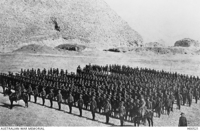 Members of the 3rd Battalion AIF assembled on parade. The 3rd Battalion was part of the 1st Division AIF which was en route to England for ultimate service on the Western Front when it was diverted to Egypt to carry out training in that country. Source: AUSTRALIAN WAR MEMORIAL