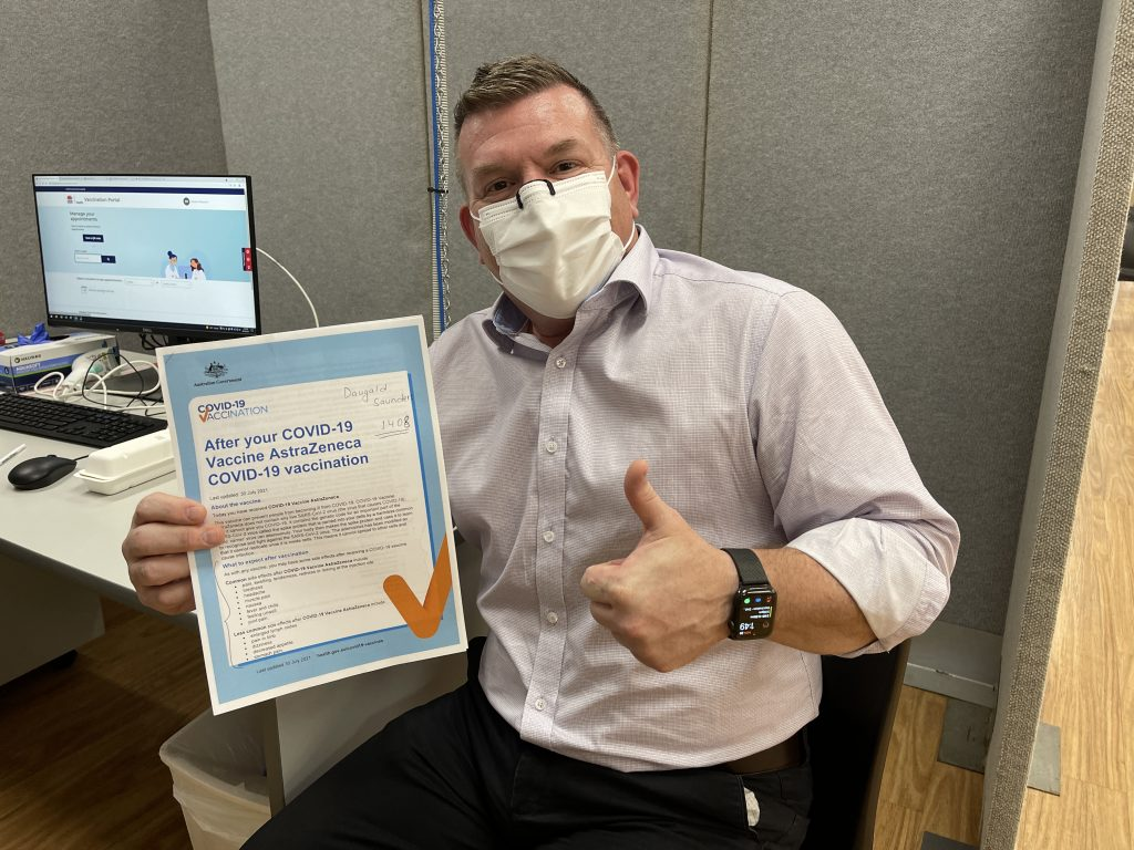 Member for the Dubbo electorate Dugald Saunders after receiving his second dose of the AstraZeneca vaccine!